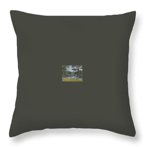 Moose River Throw Pillow featuring the painting Moose River by Sheila Mashaw
