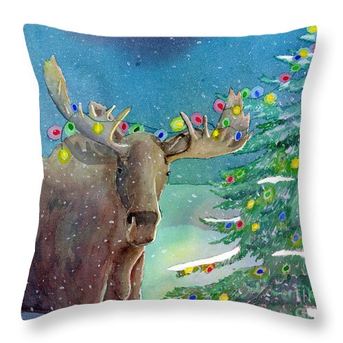 Moose Throw Pillow featuring the painting Moosey Christmas by LeAnne Sowa