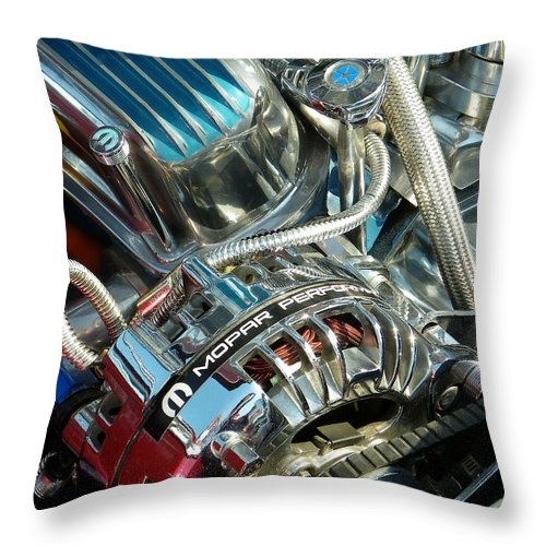 American Auto Throw Pillow featuring the photograph Mopar In Chrome by Sarah Lamoureux
