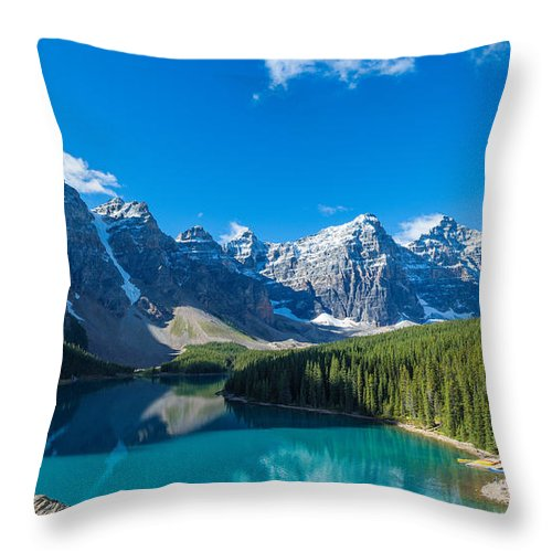 Photography Throw Pillow featuring the photograph Moraine Lake At Banff National Park by Panoramic Images