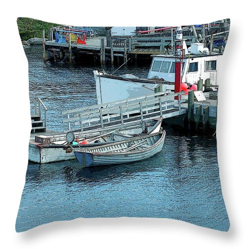 Row Throw Pillow featuring the photograph More Boats by Kathleen Struckle