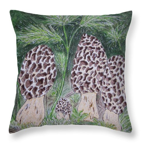 Morel Throw Pillow featuring the painting Morel Mushrooms by Kathy Marrs Chandler