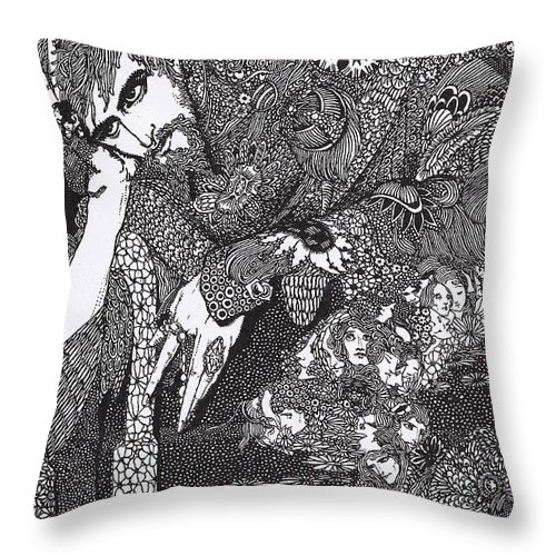 Harry Throw Pillow featuring the drawing Morella by Harry Clarke