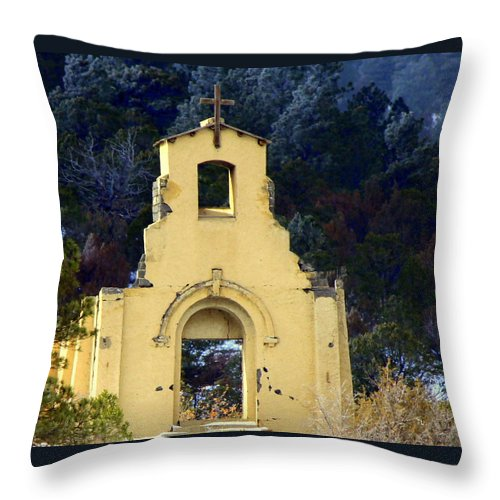 Old Church Throw Pillow featuring the photograph Mountain Mission Church by Barbara Chichester