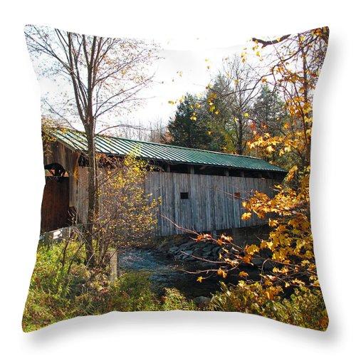Covered Bridge Throw Pillow featuring the photograph Morgan Bridge 2 by Barbara McDevitt