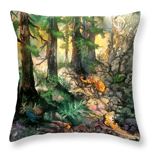Trees Throw Pillow featuring the painting Moring Hike by Sherry Shipley