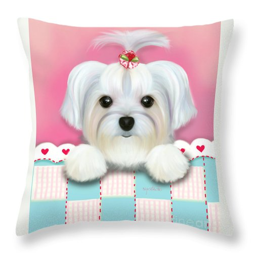 Morkie Throw Pillow featuring the mixed media Morkie Shelly by Catia Lee