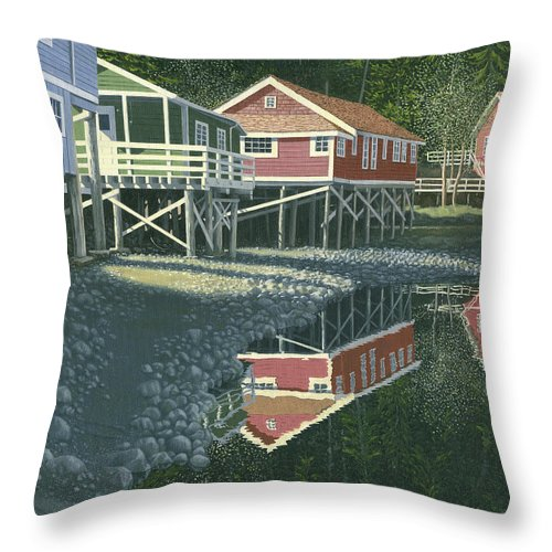Landscape Throw Pillow featuring the painting Morning At Telegraph Cove by Gary Giacomelli