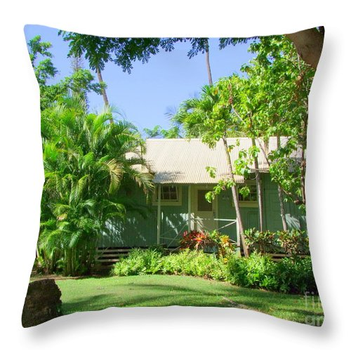 Morning At The Cabin Throw Pillow featuring the photograph Morning At The Cabin by Mary Deal