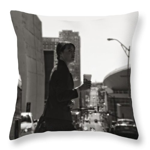 Morning Coffee At Starbucks In Nashville Throw Pillow featuring the photograph Morning Coffee At Starbucks In Nashville by Dan Sproul