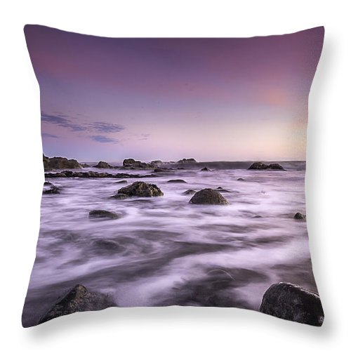Morning. Seascape Throw Pillow featuring the photograph Morning Colors by Anthony Melendrez