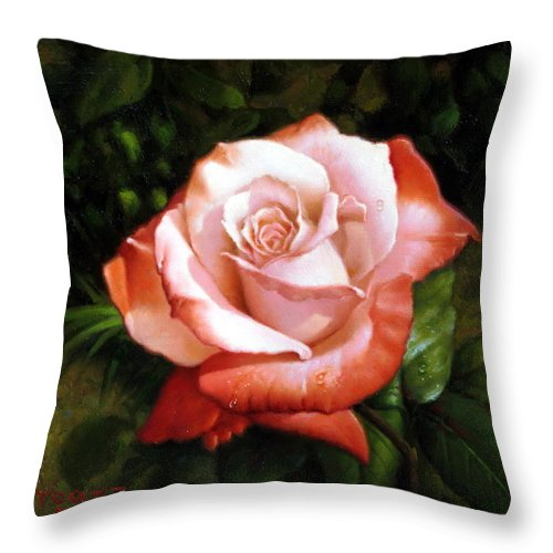 Morning Throw Pillow featuring the painting Morning Dew On The Rose Faded by Yoo Choong Yeul
