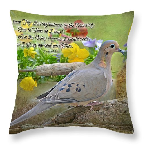 Nature Throw Pillow featuring the photograph Morning Dove With Verse by Debbie Portwood