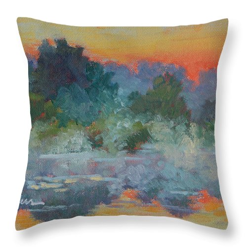 Impressionism Throw Pillow featuring the painting Morning Fog by Keith Burgess