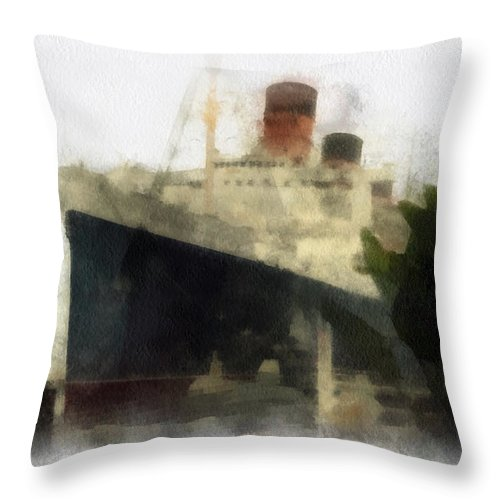 Queen Mary Throw Pillow featuring the photograph Morning Fog Queen Mary Ocean Liner 01 Photo Art 01 by Thomas Woolworth