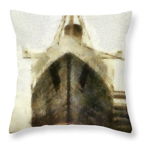 Queen Mary Throw Pillow featuring the photograph Morning Fog Queen Mary Ocean Liner Bow 03 Long Beach Ca Photo Art 02 by Thomas Woolworth
