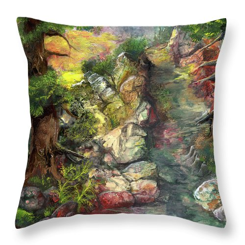 Trees Throw Pillow featuring the painting Morning Forest Hike by Sherry Shipley