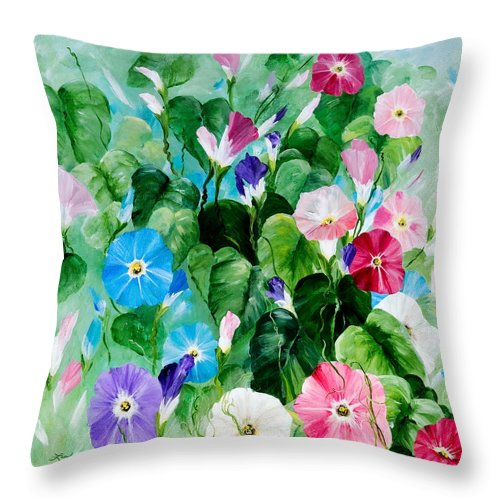 Blue Morning Glories Throw Pillow featuring the painting Morning Glory Bouquet by Linda Rauch