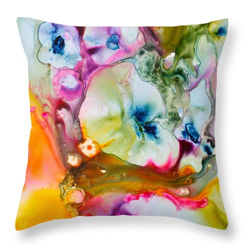 Abstract Throw Pillow featuring the painting Morning Glory by Nancy Jolley