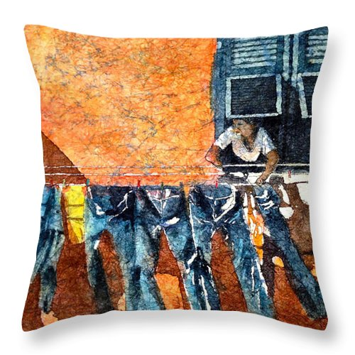Blue Throw Pillow featuring the painting Morning In Monterosso by Diane Fujimoto