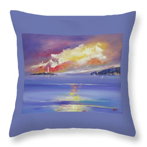 Seascapes Throw Pillow featuring the painting Morning Light by Miroslav Stojkovic
