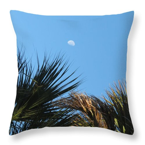 Scenery Throw Pillow featuring the photograph Morning Moon Over Palms by Fortunate Findings Shirley Dickerson