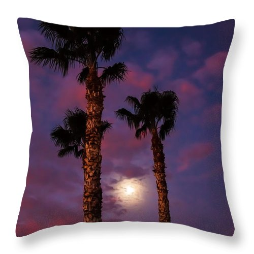 Sunrise Throw Pillow featuring the photograph Morning Moon by Robert Bales