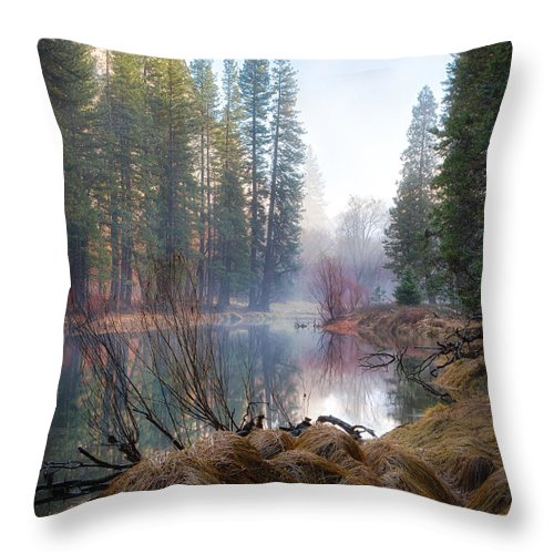 Yosemite Throw Pillow featuring the photograph Morning On The Merced by Anthony Michael Bonafede