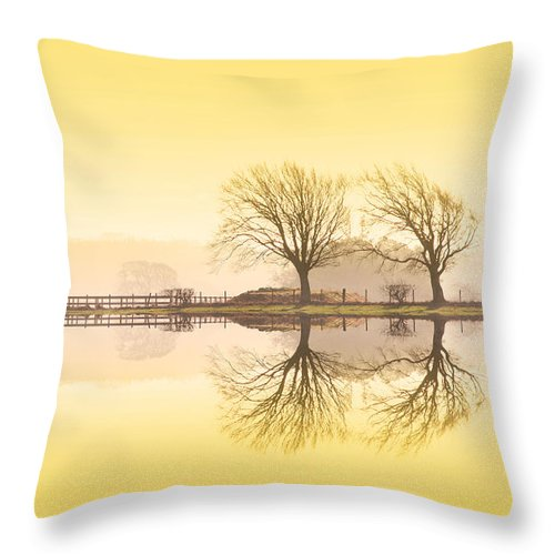Landscape Throw Pillow featuring the photograph Morning Reflection by Les McLuckie