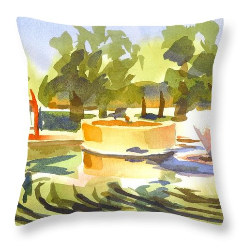Morning Ripples At Ste. Marie Du Lac Pond Throw Pillow featuring the painting Morning Ripples At Ste. Marie Du Lac Pond by Kip DeVore