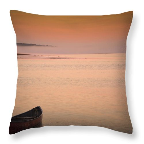 Sunrise Throw Pillow featuring the photograph Morning Sea Smoke by Brenda Giasson