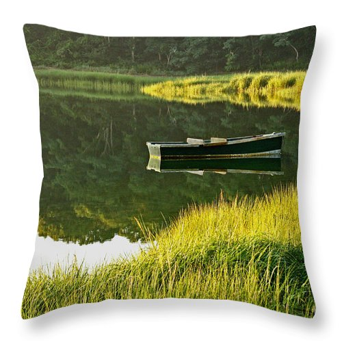 Reflection Throw Pillow featuring the photograph Morning Serenity by Jayne Carney