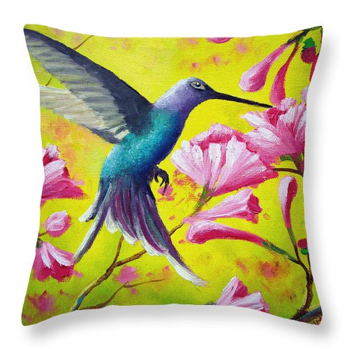Hummingbird Throw Pillow featuring the painting Morning Sweets by David G Paul