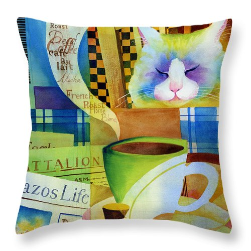 Newspaper Throw Pillow featuring the painting Morning Table by Hailey E Herrera