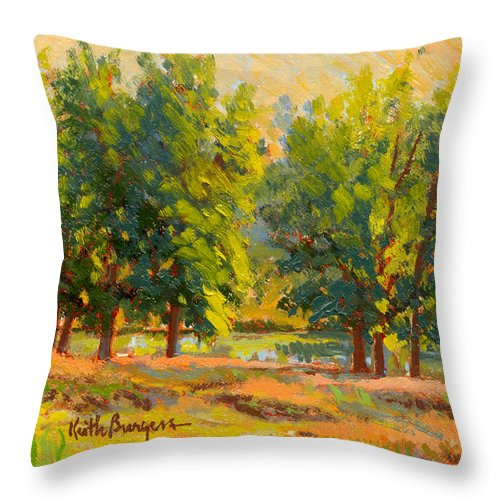Impressionism Throw Pillow featuring the painting Morning Through The Trees by Keith Burgess