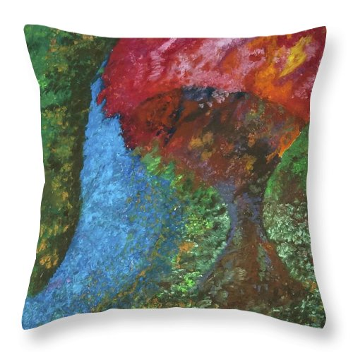 Landscape Tree Throw Pillow featuring the pastel Morning Tree by Jon Kittleson