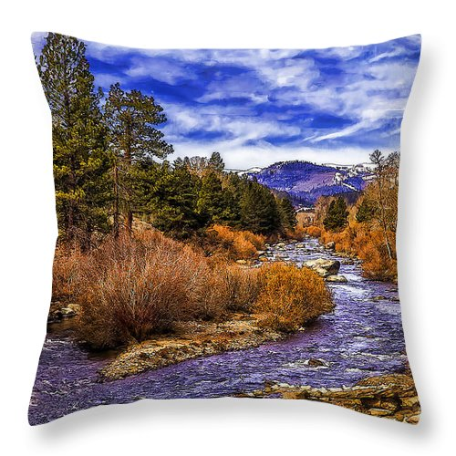River Throw Pillow featuring the photograph Morning View-d by Nancy Marie Ricketts