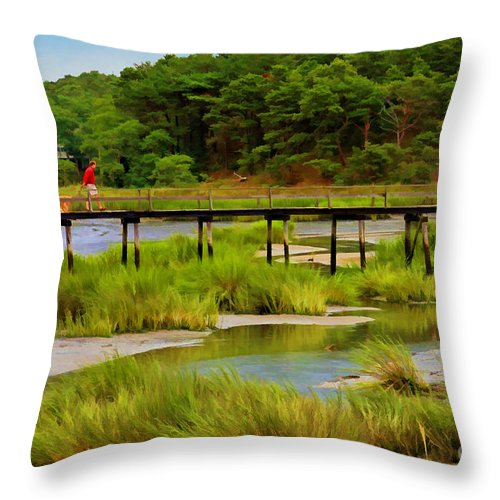 Bridge Throw Pillow featuring the photograph Morning Walk by Jayne Carney