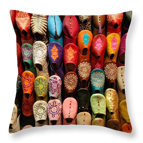 Babouches Throw Pillow featuring the photograph Moroccan Babouches Old Medina Marrakesh Morocco by Ralph A Ledergerber-Photography
