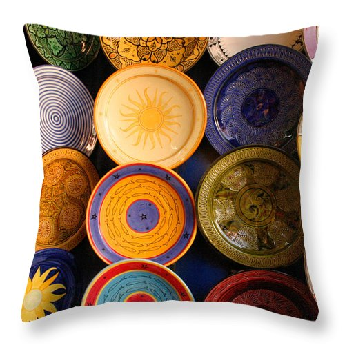 Morocco Throw Pillow featuring the photograph Moroccan Pottery On Display For Sale by Ralph A Ledergerber-Photography