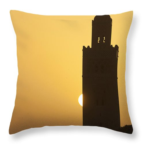 Daytime Throw Pillow featuring the photograph Morocco, Sun Setting Behind Minaret by Ian Cumming