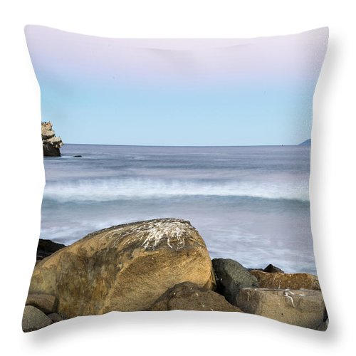 Morro Bay Throw Pillow featuring the photograph Morro Rock Morning by Terry Garvin