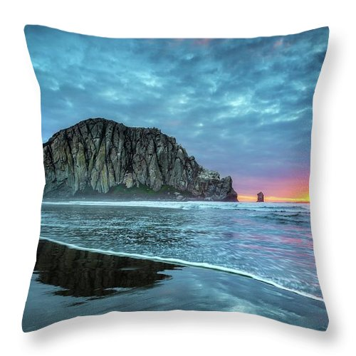 Tranquility Throw Pillow featuring the photograph Morro Sunset by Tom Grubbe