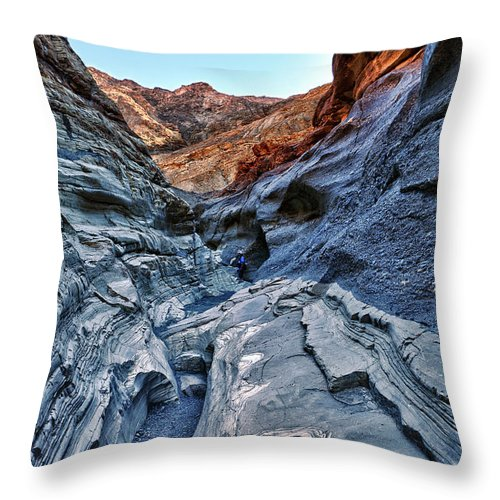 mosaic Canyon Throw Pillow featuring the photograph Mosaic Canyon In Death Valley by Angela Stanton