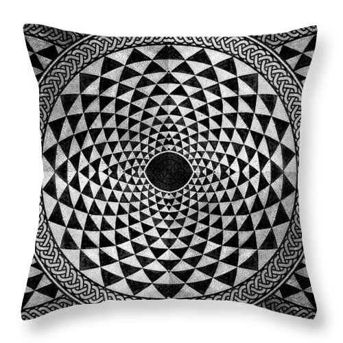 Abstract Throw Pillow featuring the mixed media Mosaic Circle Symmetric Black And White by Tony Rubino