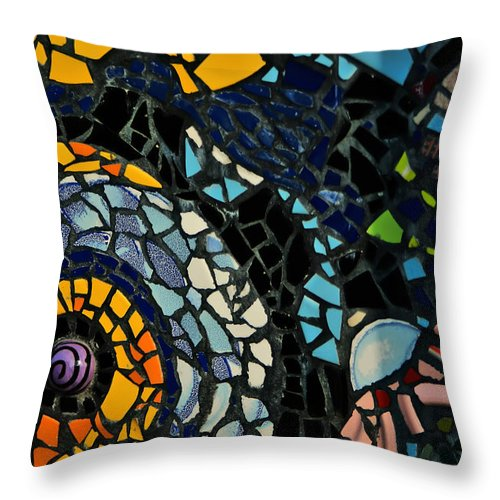 Abstract Throw Pillow featuring the photograph Mosaic Pattern On Wall by Alex Grichenko