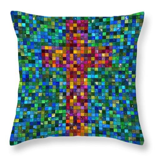 Cross Throw Pillow featuring the digital art Mosaic Tile Cross by Kurt Van Wagner