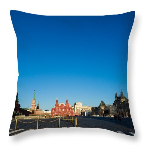 Architecture Throw Pillow featuring the photograph Moscow Red Square From South-east To North-west - Square by Alexander Senin