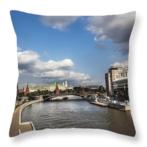 Moscow River Throw Pillow featuring the photograph Moscow River - Russia by Madeline Ellis