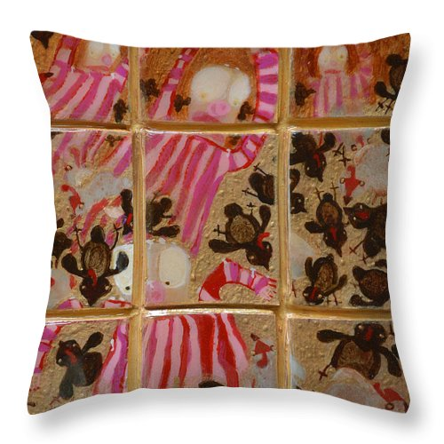 Abstract Outsider Quail Children Bible Religious Moses Israelite Folk Raw Throw Pillow featuring the painting Moses And The Quail by Nancy Mauerman
